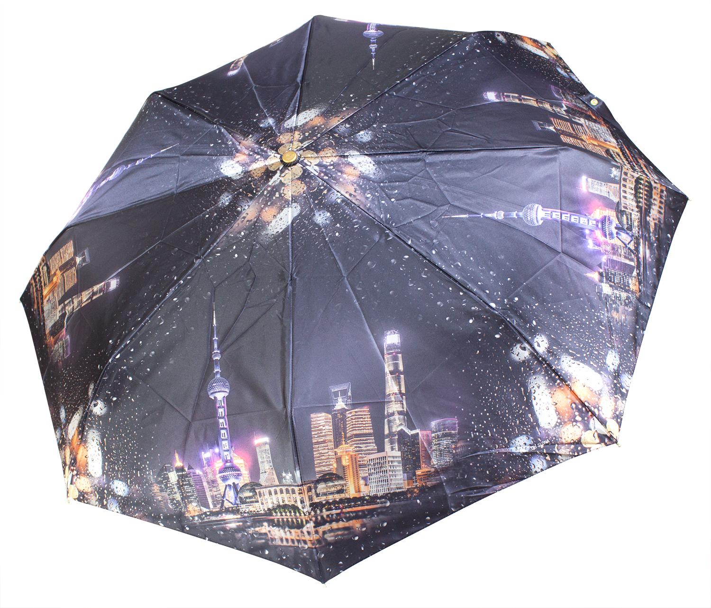 Зонт из фотосатина L3835 Ночной город (полный автомат) 116 см Три слона