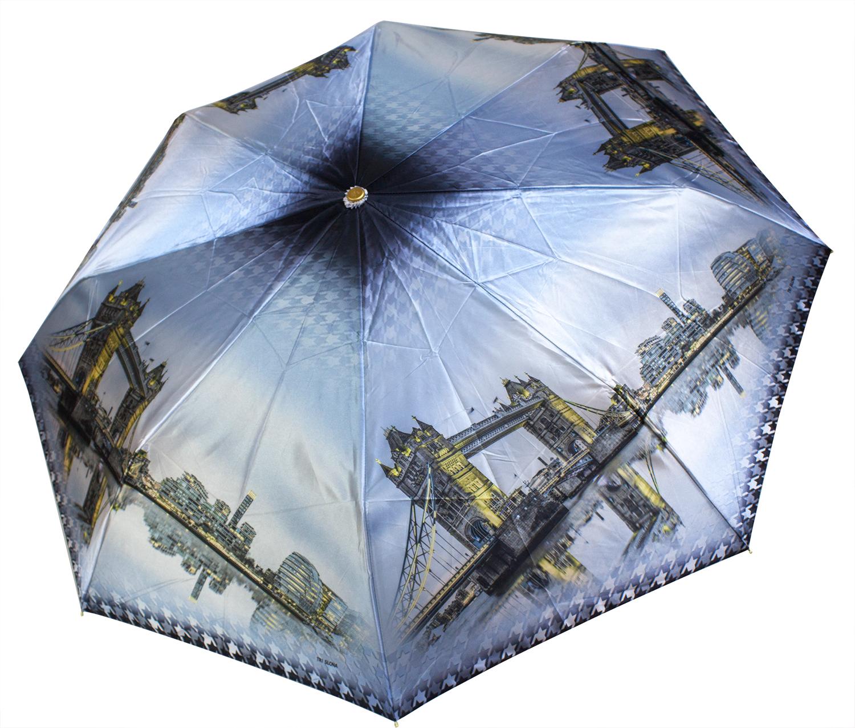 Женский зонт из фотосатина L3835 Мосты (полный автомат) 116 см Три слона