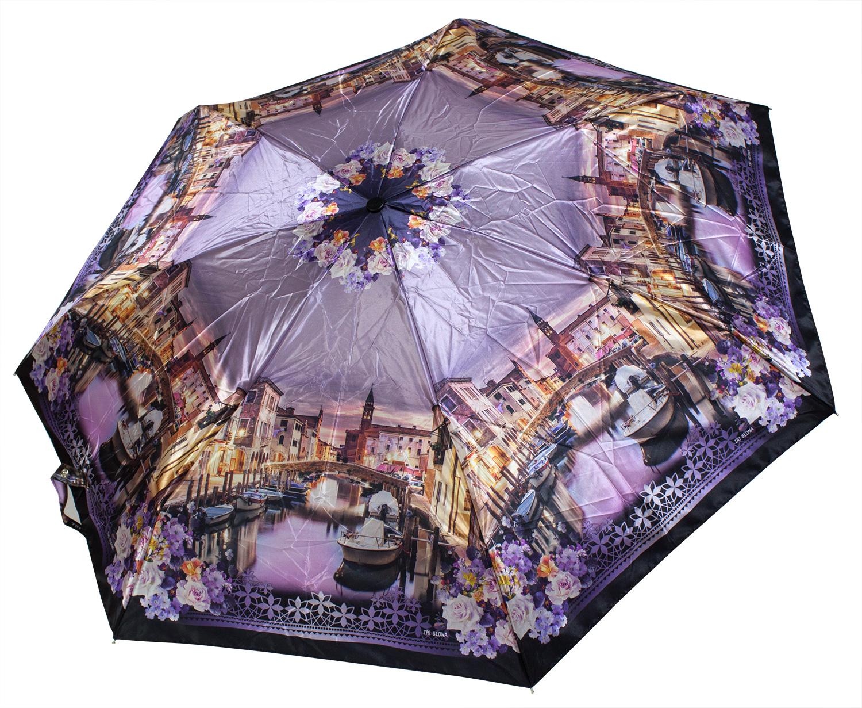 Cатиновый мини зонт L4702 Сиреневый рассвет (полный автомат) 92 см Три слона