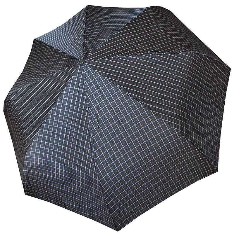 Зонт трость из эпонжа M2180 Клетка черный-голубой (полуавтомат) 140 см Три слона