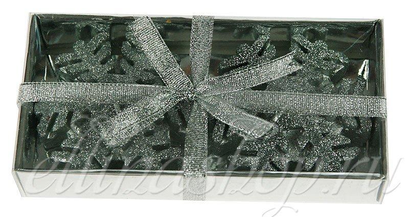 Снежинка серебряная декоративная свеча, 73609 (51866)