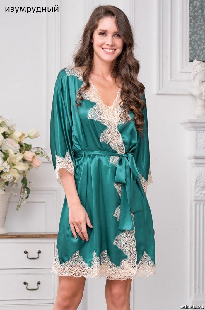 Шелковый халат с кружевом 3443 Мэрэлин Делюкс Mia Amore