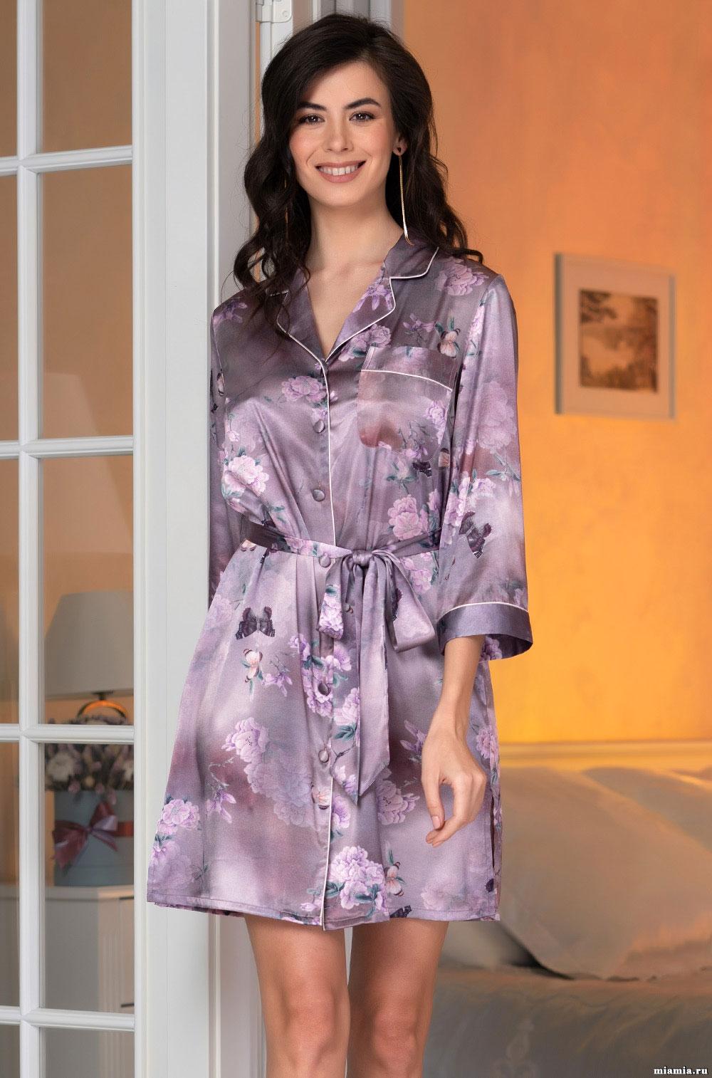 Рубашка-халат из шелка 3657 Aurora Mia Amore