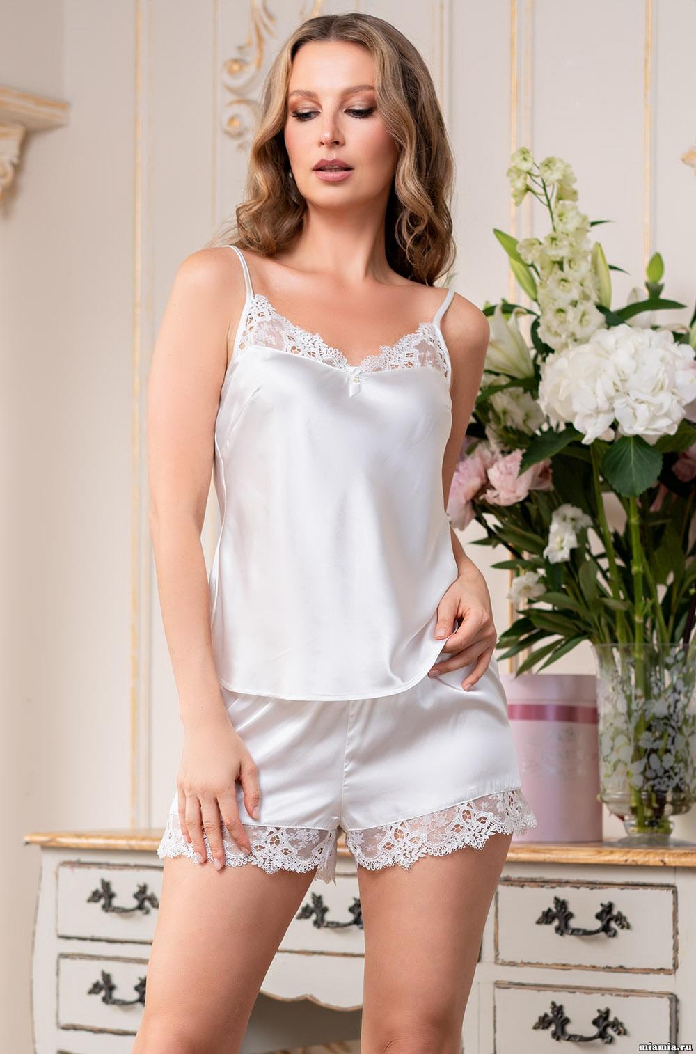 Шелковая пижама (топ, шорты) 3674 Эдита Mia Amore