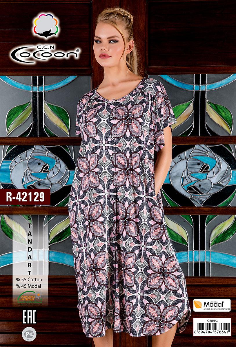 Женский халат на пуговицах R-42129 Cocoon