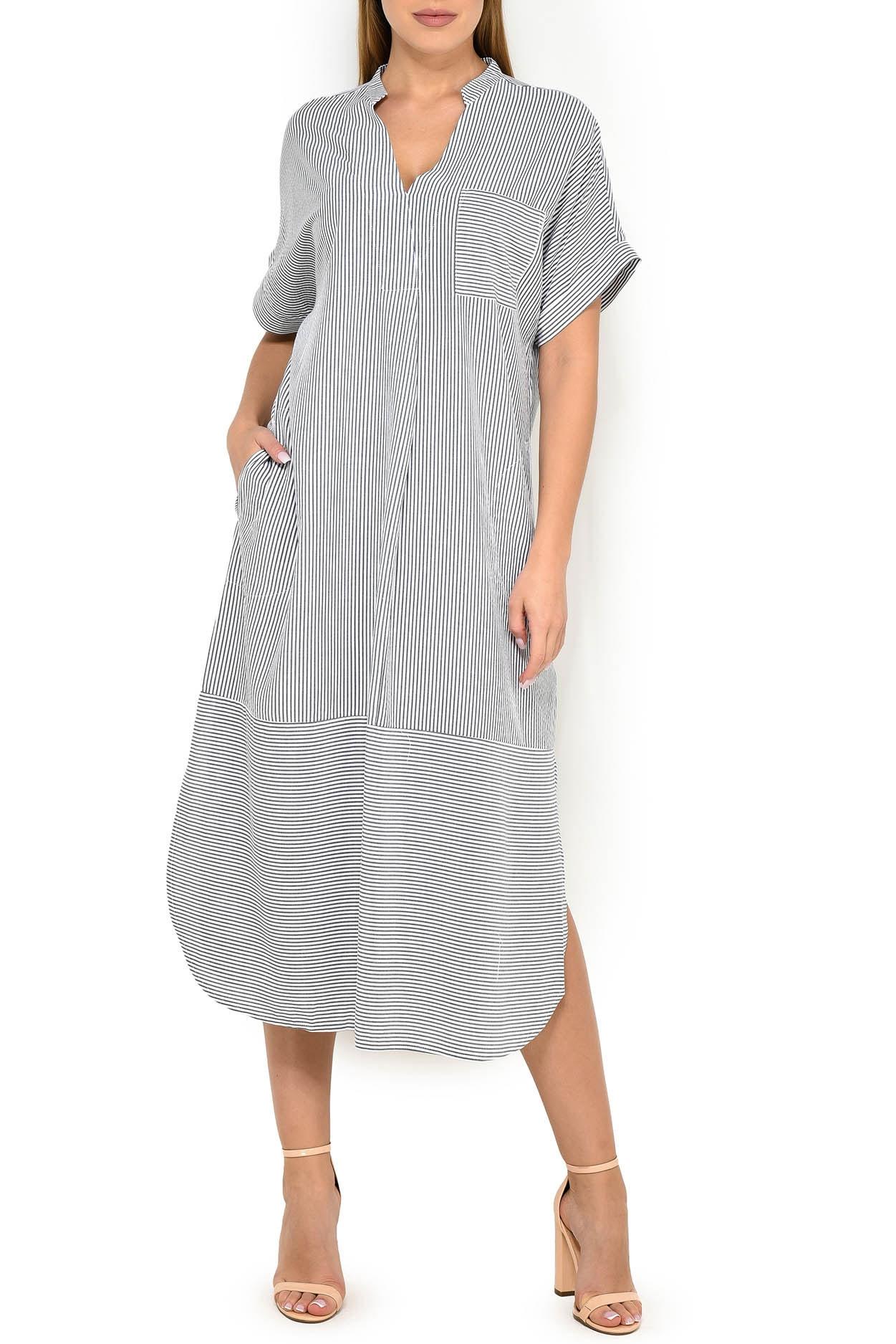 Платье из вискозы DI317301 белый-черный DKNY