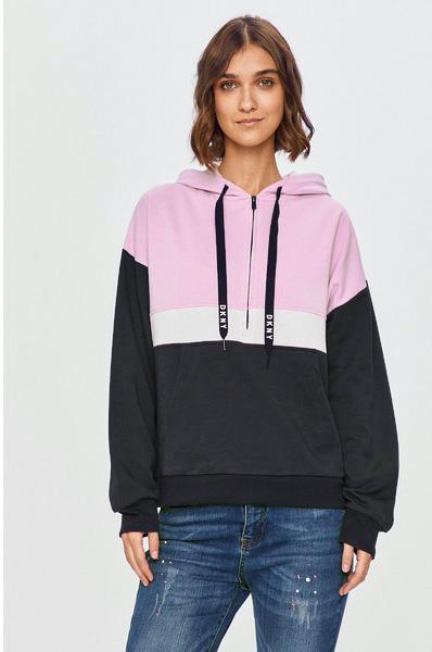 Теплая кофта с капюшоном, на молнии YI2022413 A Step Ahead серый-розовый DKNY