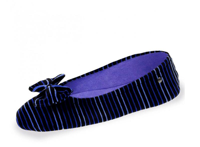Велюровые балетки 95991 полоска фиолетовый Isotoner