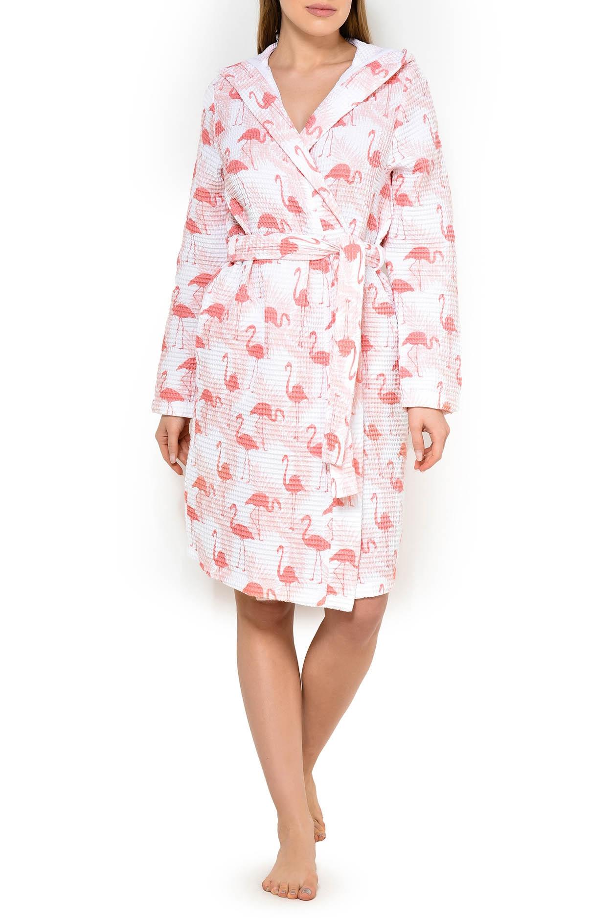 Вафельный халат с капюшоном 201312-610 Flamingo Taub