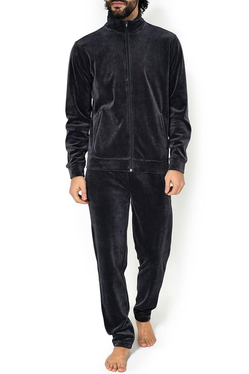 Мужской велюровый комплект (жакет + брюки) 500303 серый Jockey