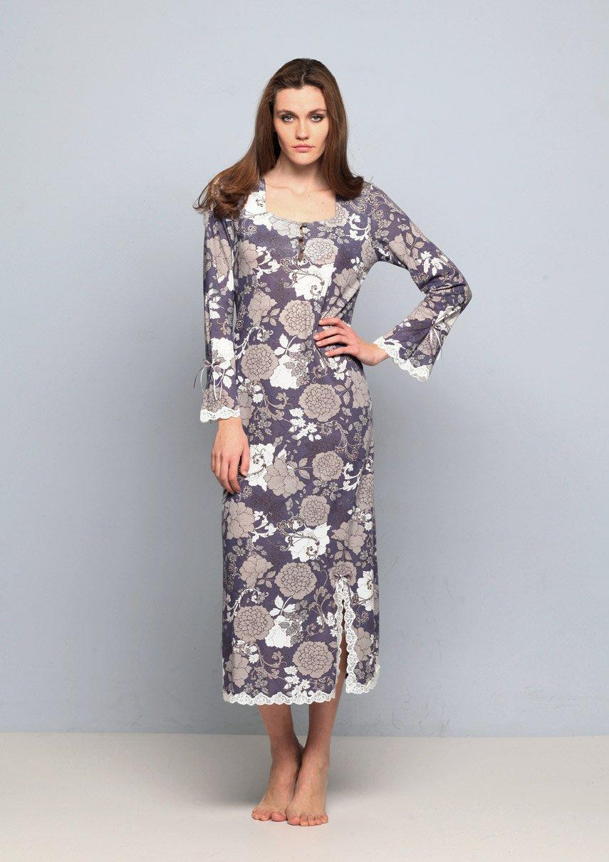 15330 Цветы - рубашка длинная с длинным рукавом Nota