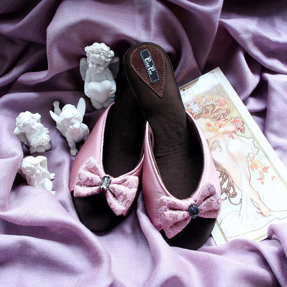 Туфли домашние на каблуке CLBB4 розовый Бантик Petit Pas