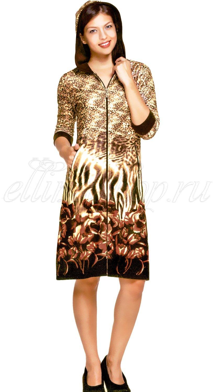02-1043 Леопард халат велюровый на молнии Cocoon