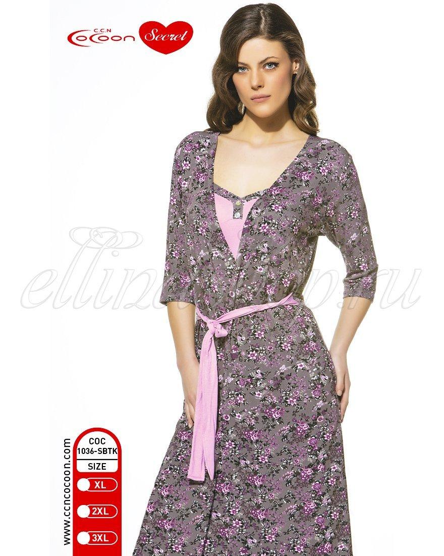 1036SBTK Цветы Комплект (халат+сорочка) Cocoon