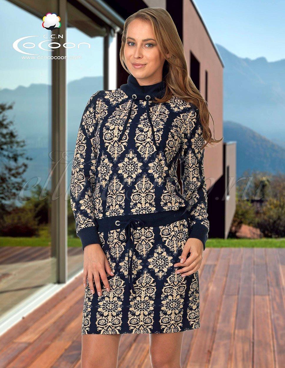 11-6001 Узоры - трикотажное платье Cocoon