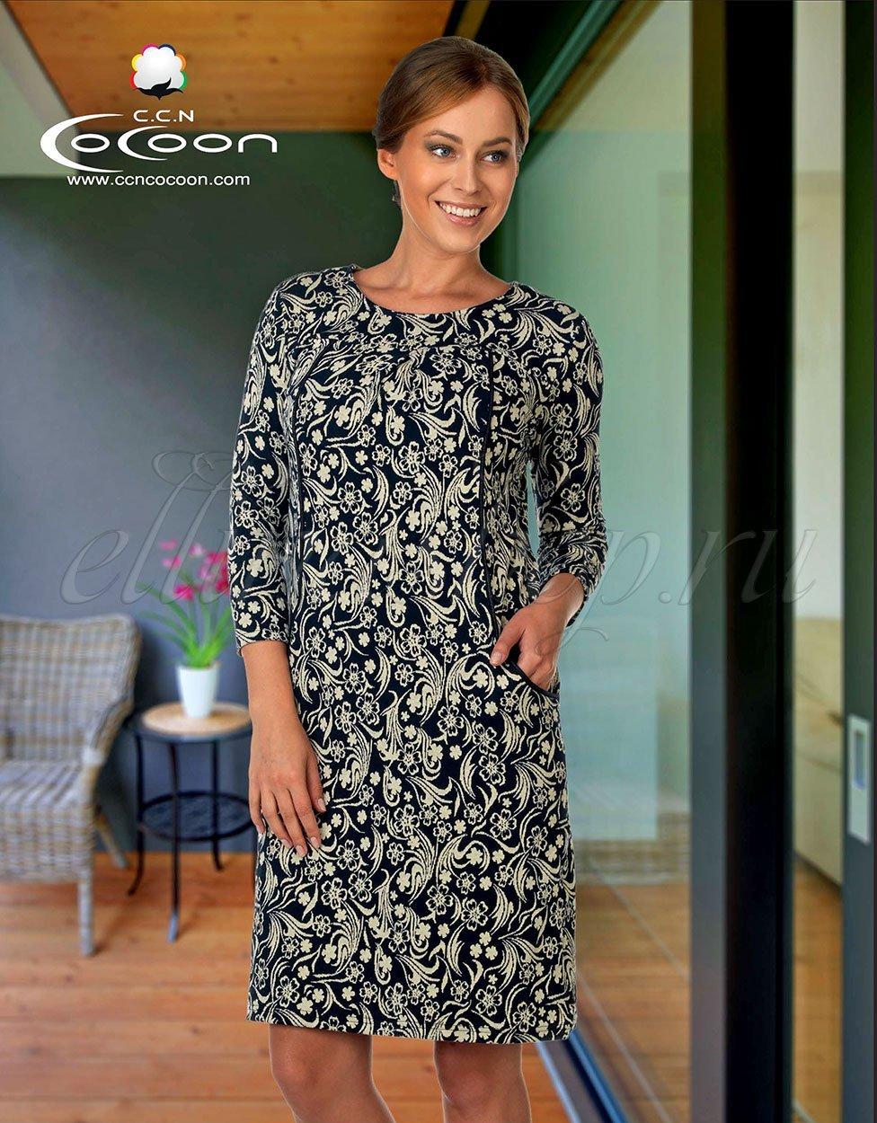11-6501 Цветы - трикотажное платье Cocoon