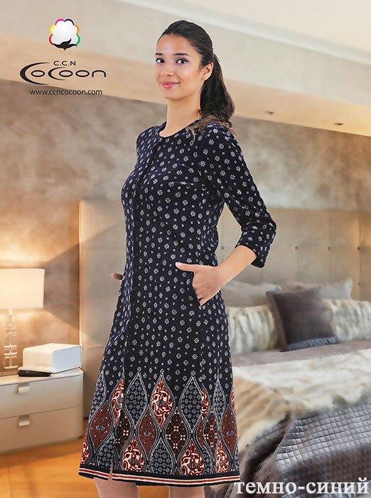 Женский халат средней длины из велюра, на пуговицах 12-1015 Cocoon