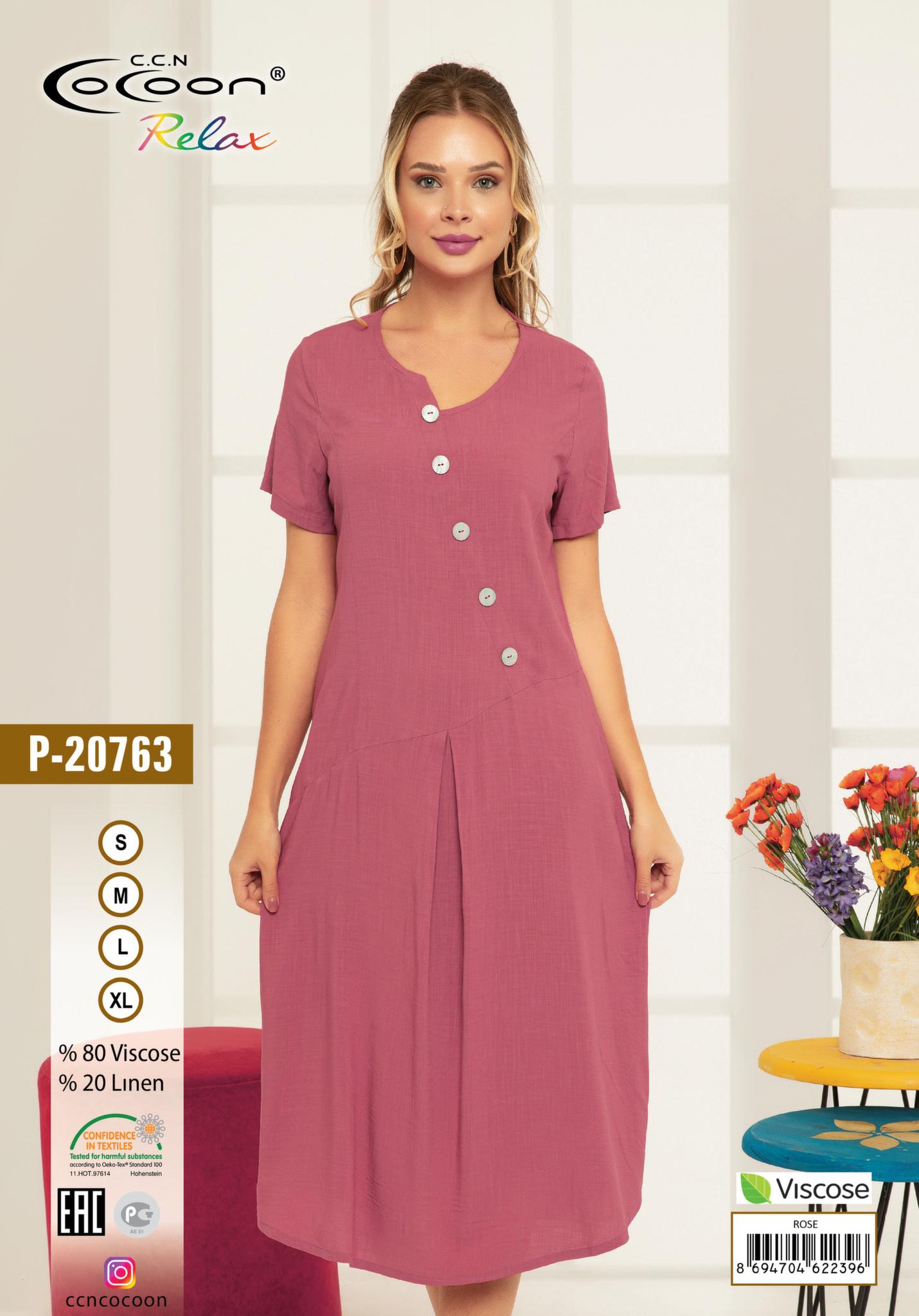Платье из штапеля P-20763 брусничный Cocoon