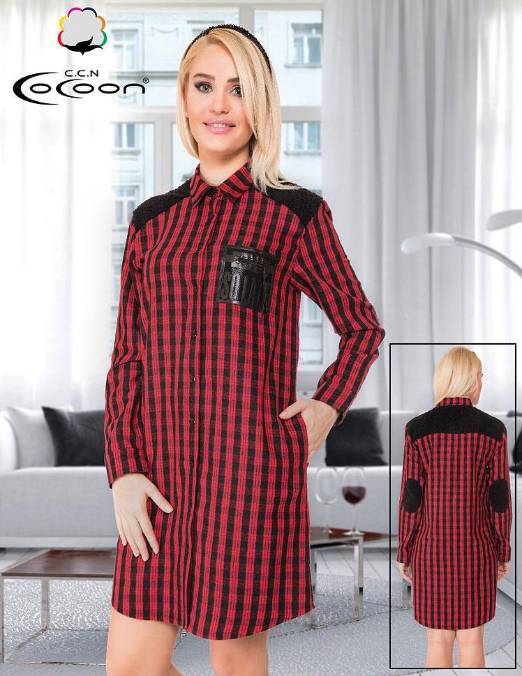 Женский трикотажный халат на пуговицах 91-3543 Клетка Cocoon