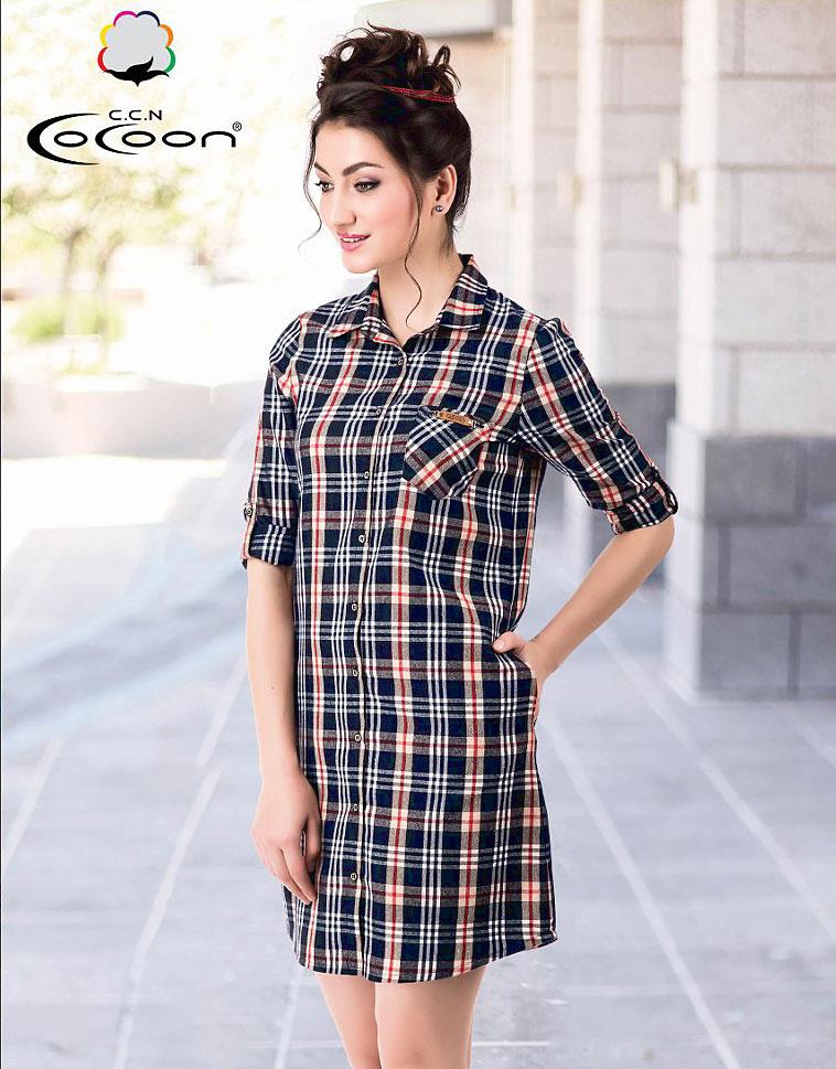 Женский трикотажный халат на пуговицах 91-3556 Клетка Cocoon