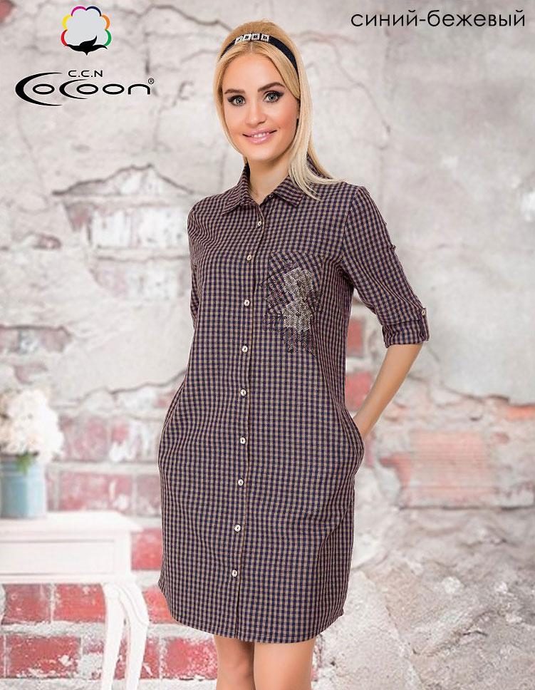 Женский трикотажный халат на пуговицах 91-3570 Клетка Cocoon