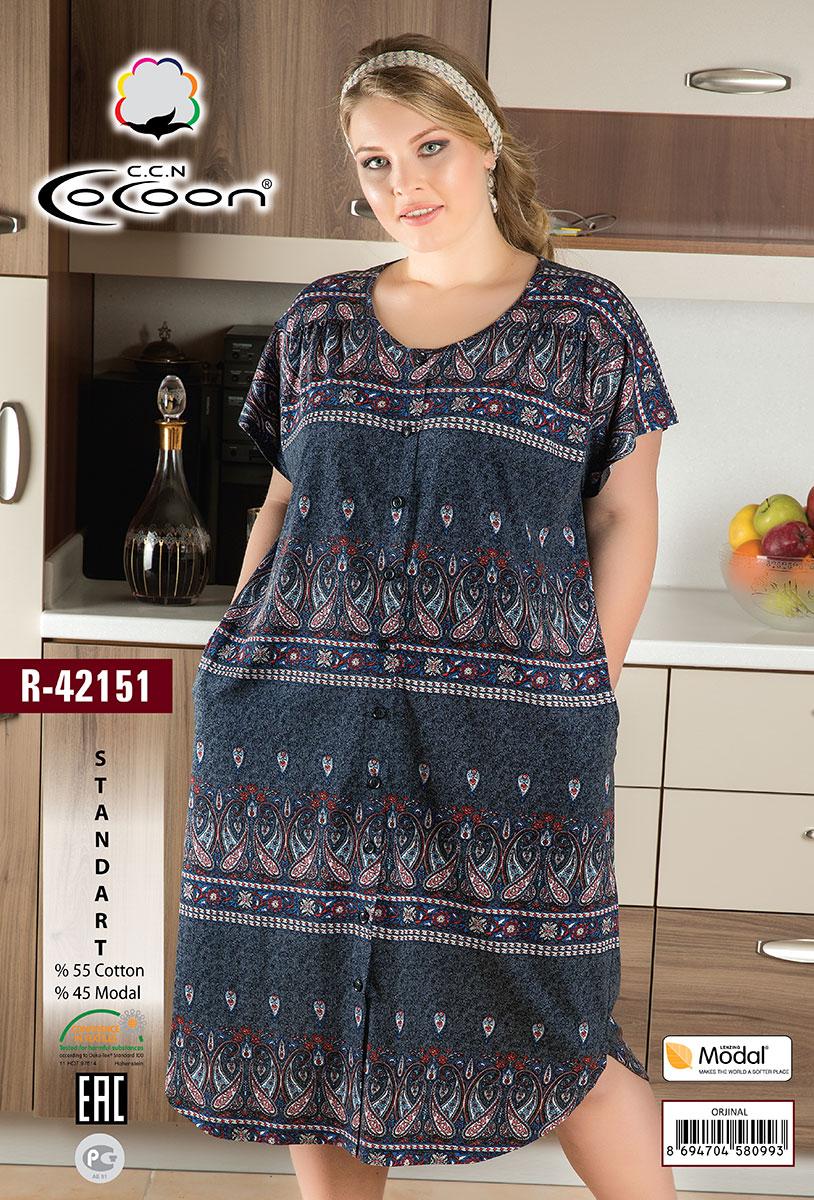 013f0859cc8a Женский трикотажный халат на пуговицах R-42151 Cocoon: купить по ...
