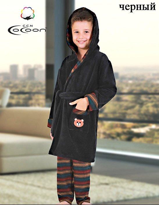 Детский комплект (халат+брюки) черный С-501 Cocoon