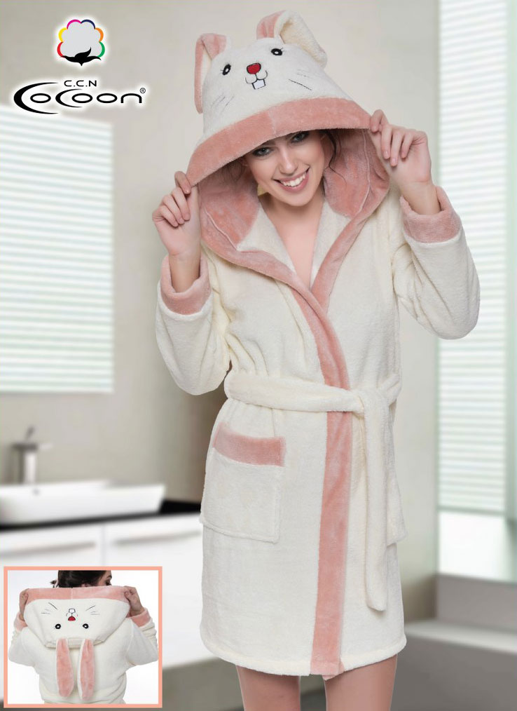 Женский халат из микрофибры с капюшоном 06-5195 Cocoon