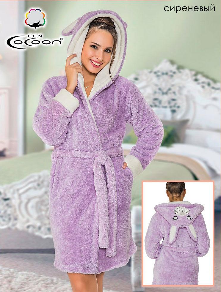 Женский халат из велсофта с капюшоном 06-5213 Cocoon