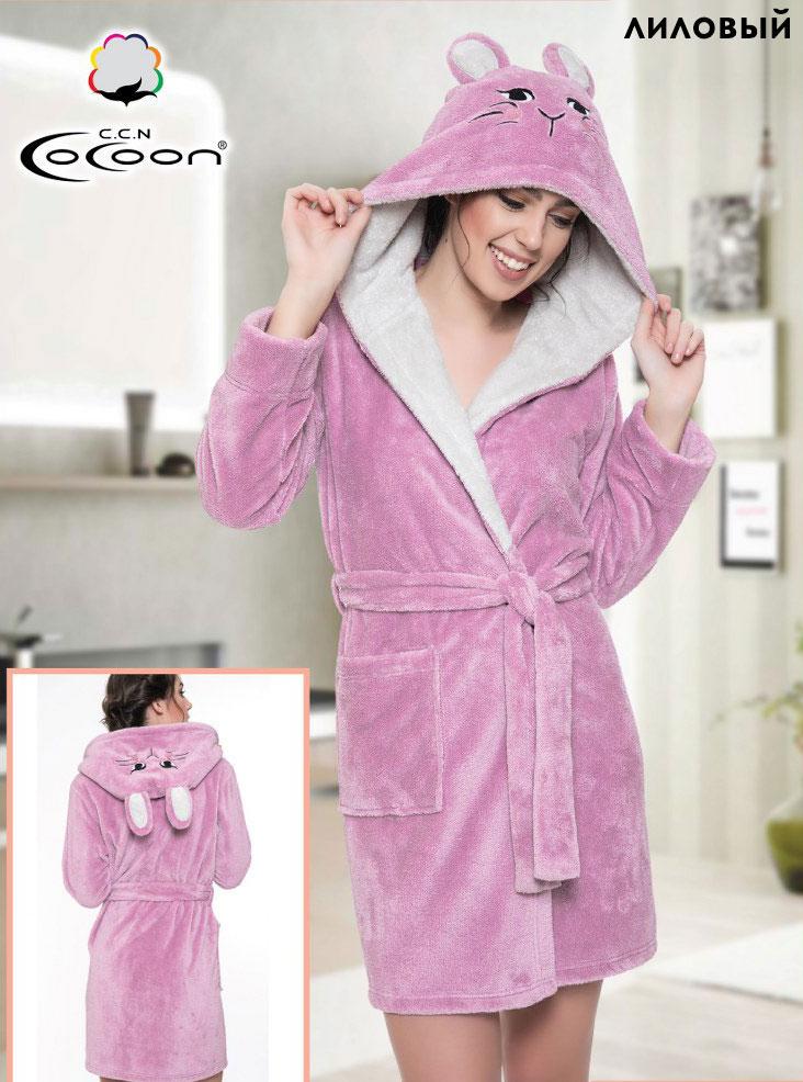 Женский халат из велсофта с капюшоном 06-5215 Cocoon