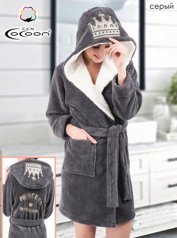Женский халат из микрофибры с капюшоном 06-5221 Cocoon