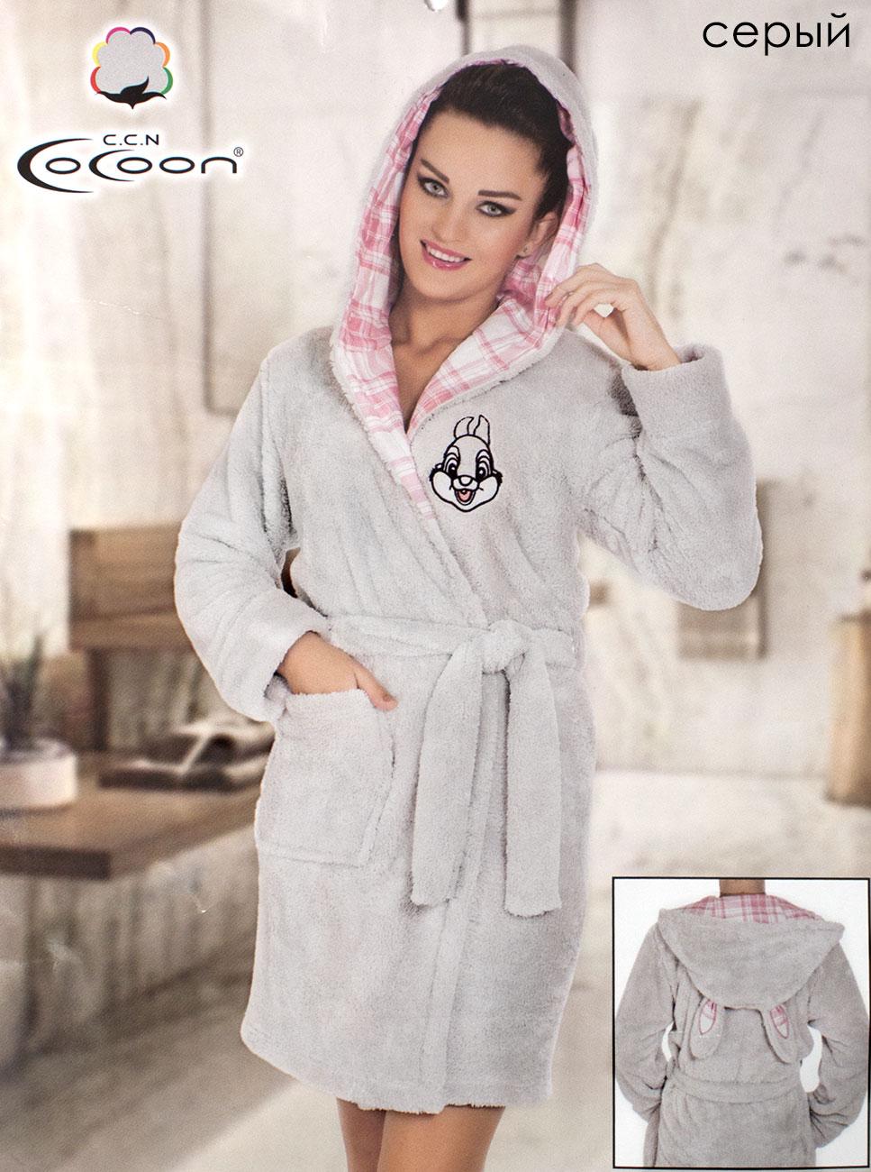 Женский халат из микрофибры с капюшоном 06-5225 Cocoon