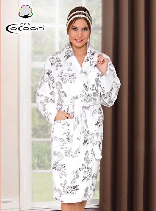 Женский халат из велсофта 005-5297 Cocoon