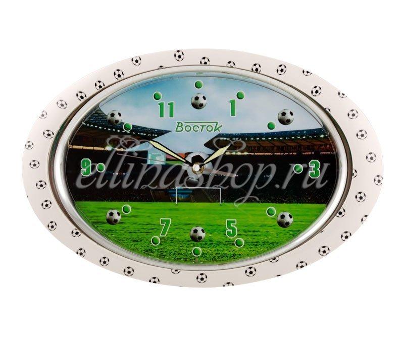 P-121045 Футбол настенные часы кварц. белый/мяч Восток (42379)