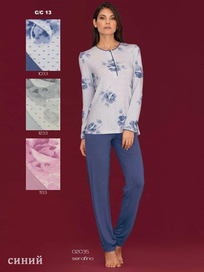 02035 Розы пижама (кофта+брюки) Linclalor