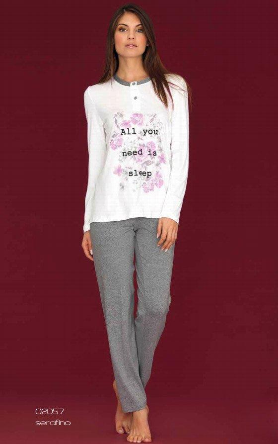 02057 Цветы пижама (кофта+брюки) Linclalor