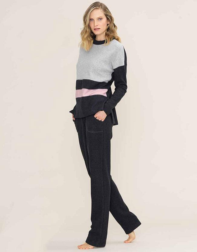 Женская пижама с начесом (кофта, брюки) 77441 Color Block Bisbigli