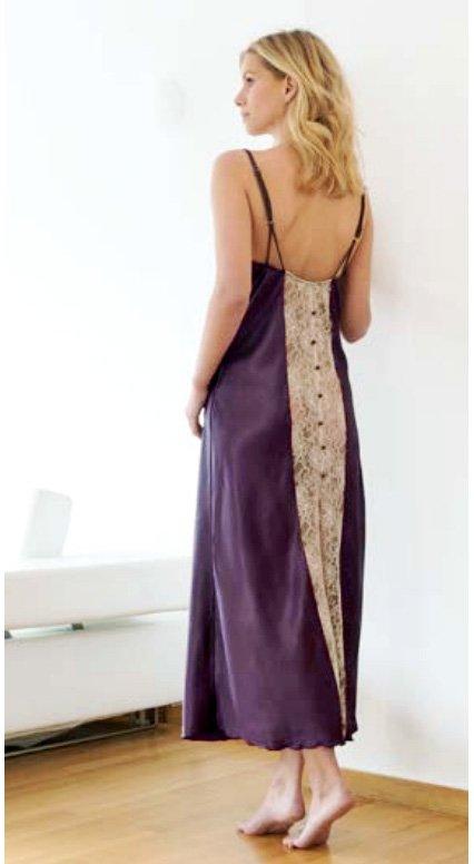 Сорочка длинная на бретелях 16430 шелк+кружева Nota