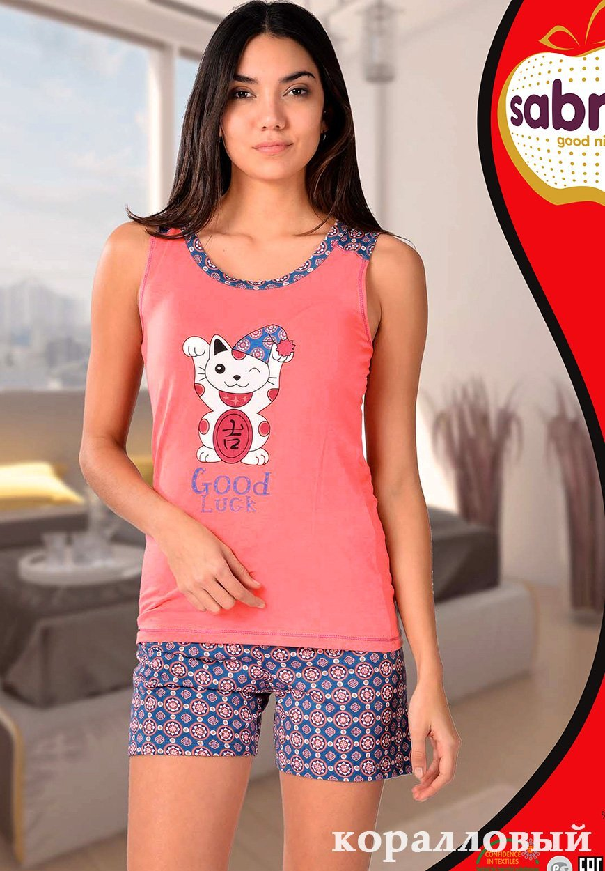 Комплект для отдыха Котик (майка+шорты) 62539 Sabrina