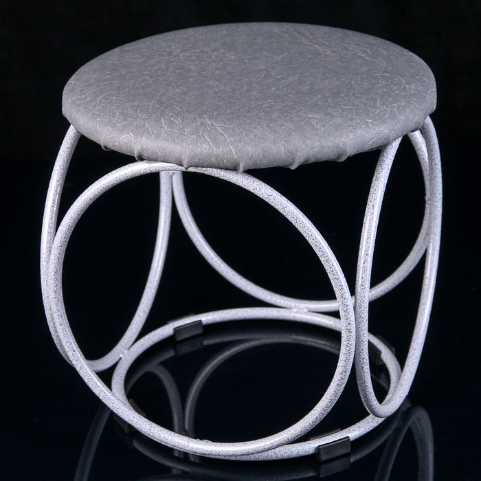 Банкетка БН 140 круглая белое серебро 30х30х30 см