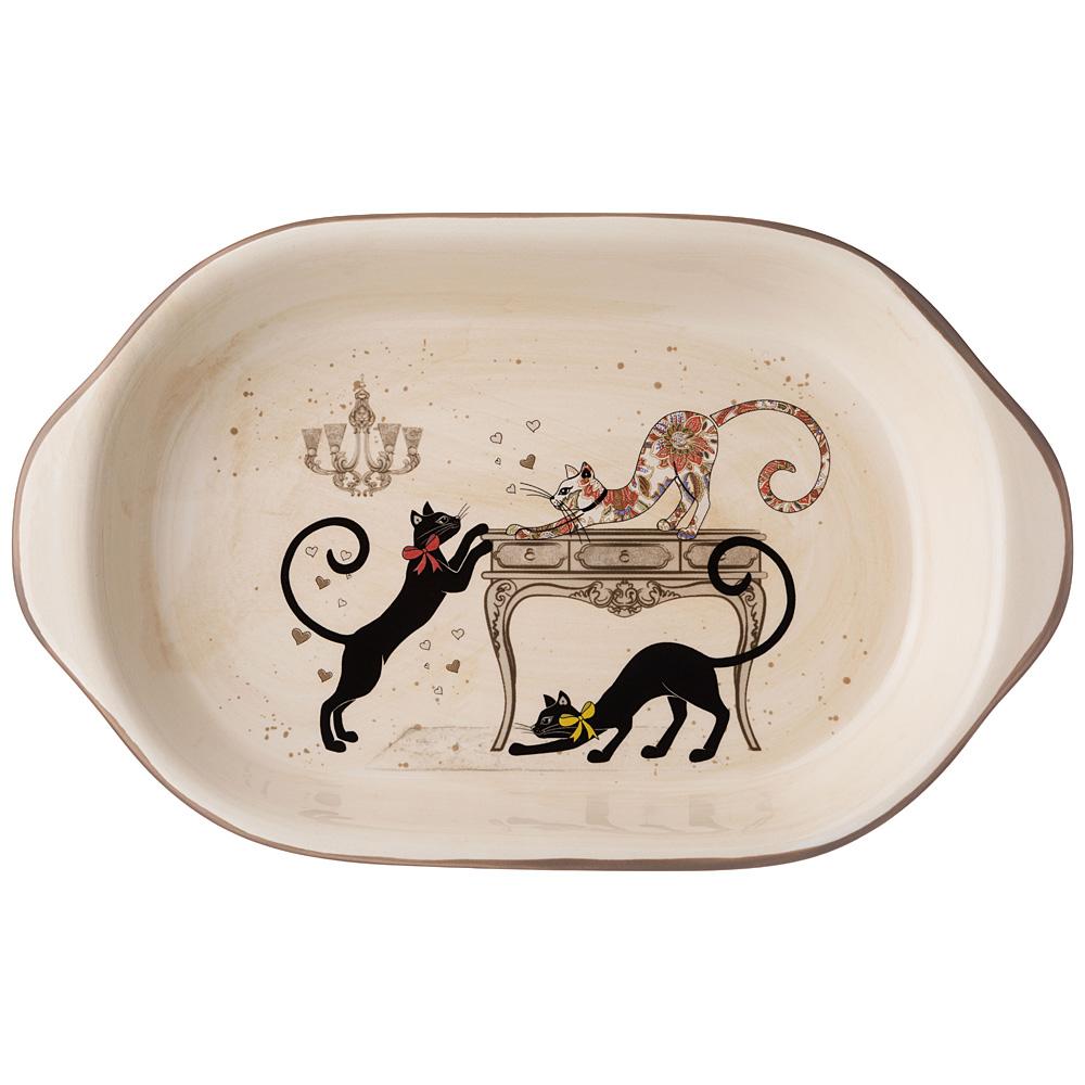 """Блюдо-шубница 358-1731 """"парижские коты"""" 28*17,5*4,5 см"""