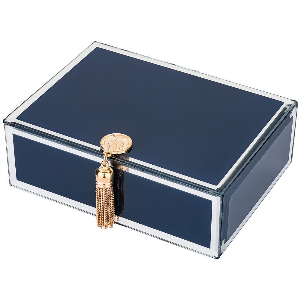 Шкатулка 453-104 коллекция гламур с кисточкой синий 16*12*6 см