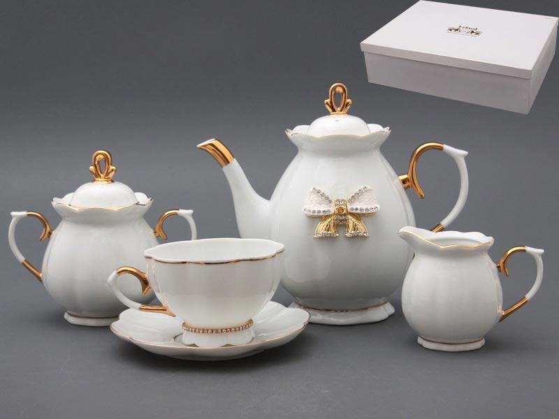 Чайный сервиз 55-2300 со стразами на 6 персон 15 пр. 950/240 мл