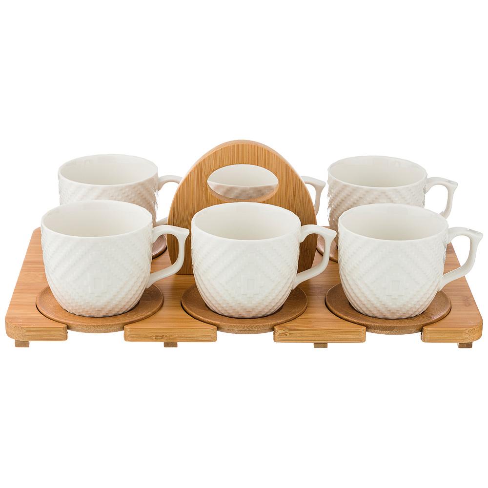 Чайный набор 587-138 на 6 персон, 12 предметов native, на подставке