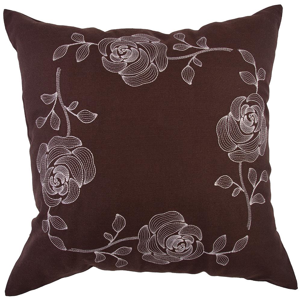 Декоративная подушка 703-691-05 45*45 см розы, коричневый