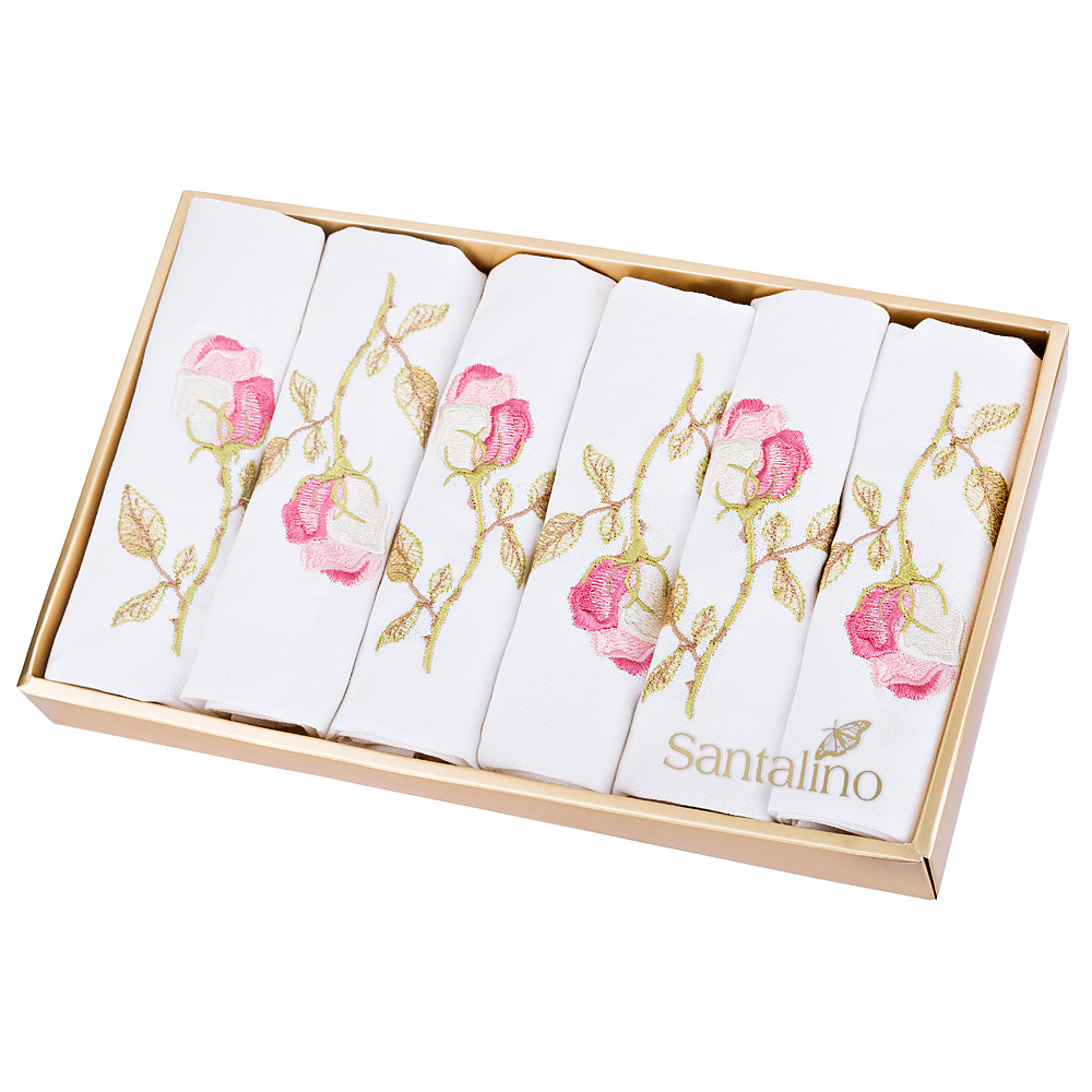 Комплект салфеток 850-517 роза 6 шт, 40*40 см, вышивка