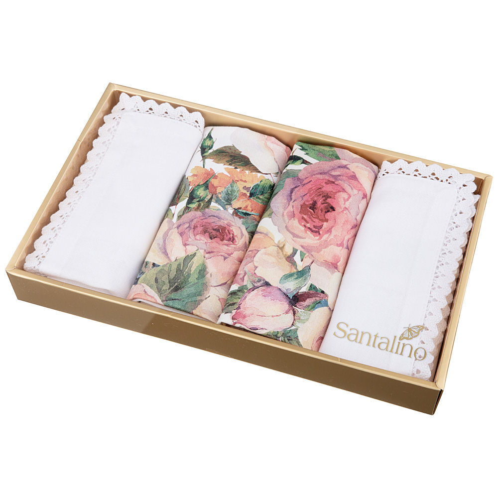 Комплект салфеток 850-714-84 винтаж 4 шт, 40*40 см, кремовый+белый