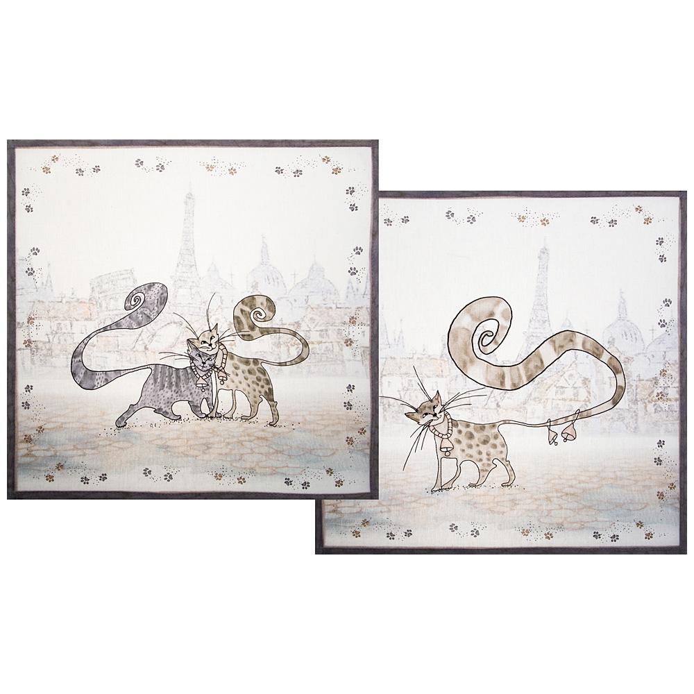 Набор салфеток 850-715-8 из 2-х шт котики, 40х40 см, белый
