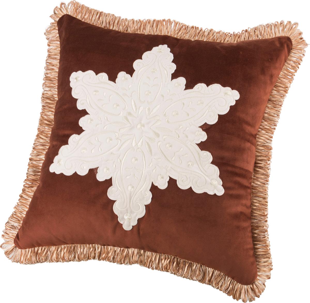 Декоративная подушка 850-817-07 снежинка коричневая 46*46 см