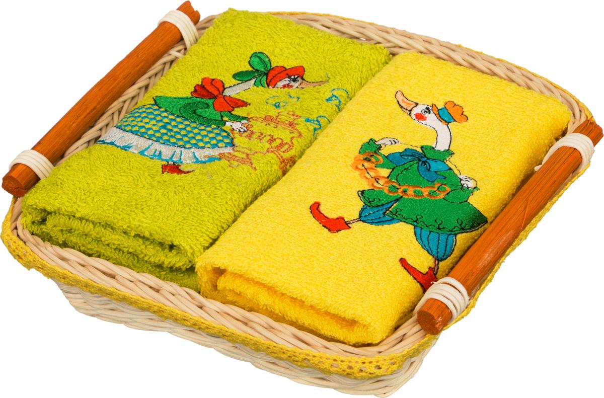 Комплект махровых салфеток 850-840-32 2 шт 40х40 см в корзине у самовара, жёлтый+лайм